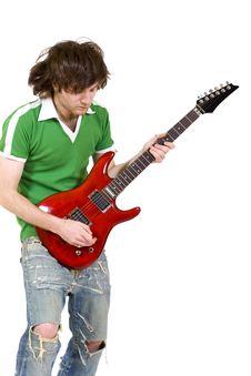 Guitarist Playing Sn Electric Guitar Stock Images
