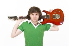Free Guitarist With Guitar On His Shoulder Royalty Free Stock Photography - 8431977