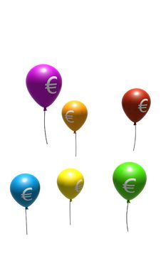 Free Balloons With Euro Symbols Stock Photography - 8432542