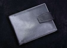 Leather Wallet On Black. Royalty Free Stock Images