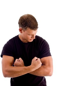 Young Man Showing His Muscles Royalty Free Stock Photography