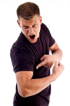 Shouting Man Pointing At His Muscles Stock Photos