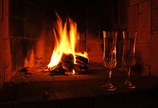 Free Champagne By The Fire Royalty Free Stock Image - 8433066