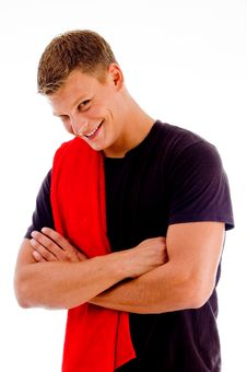 Smiling Handsome Male With Crossed Arms Royalty Free Stock Photography