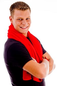 Free Smiling Muscular Man With Towel And Crossed Arms Royalty Free Stock Image - 8433146