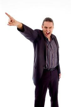 Disappointed Businessman Pointing Royalty Free Stock Image