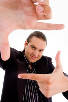 Free Young Man Making Frame With Fingers Royalty Free Stock Photos - 8433218