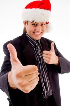 Free Man Showing Hand Gesturing And Wearing Christmas Stock Photo - 8433250
