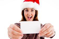 Free Woman Wearing Hat Displaying Business Card Royalty Free Stock Image - 8433296