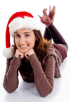 Free Young Woman In Christmas Hat Smiling At Camera Stock Image - 8433311