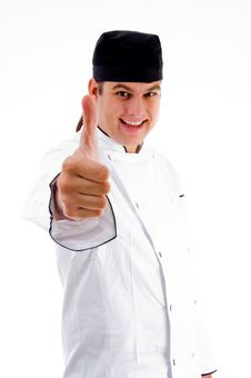 Free Cheerful Male Chef With Thumbs Up Royalty Free Stock Photography - 8433317