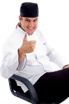 Free Smart Male Chef With Thumbs Up Hands Gesture Stock Photo - 8433340