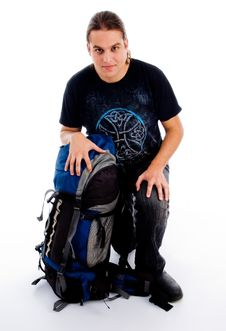 Free Sitting Man On Luggage Stock Photo - 8433380