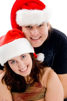 Free Close View Of Young Couple With Christmas Hat Stock Photos - 8433423