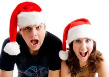 Free Portrait Of Shouting Couple Wearing Christmas Hat Royalty Free Stock Photos - 8433438