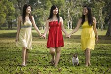 Girlfriends Outdoor In The Park Royalty Free Stock Photography