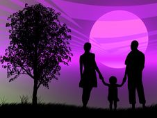 Free Family At Sunset Royalty Free Stock Photo - 8434275