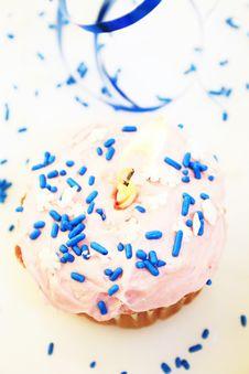 Birthday Cupcake. Royalty Free Stock Photo