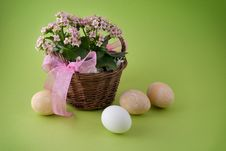 Easter Eggs And Basket With Flower Royalty Free Stock Image