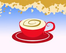 Free Red Cup Of Milk And Coffee Royalty Free Stock Image - 8435816