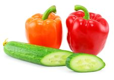 Free Fresh Vegetables (paprika And Cucumber) Isolated Stock Images - 8438034