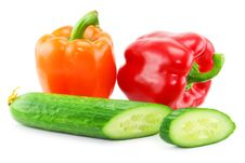 Free Fresh Vegetables (paprika And Cucumber) Isolated Stock Photography - 8438042