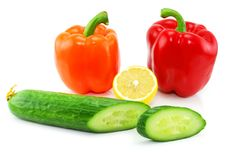 Fresh Vegetables (paprika, Cucumber And Lemon) Stock Images