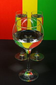 Three Wineglass In Color Background Stock Image