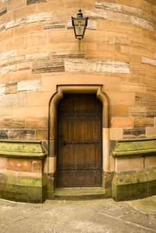 Free Ancient Wooden Doorway In Sandstone Wall Royalty Free Stock Photography - 8438597