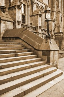Sepia Gothic Steps To Ancient Building Stock Photos
