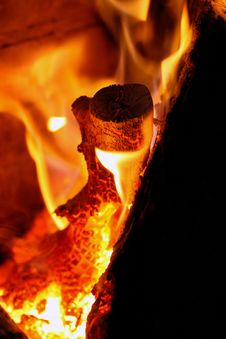 Log Burning Hot Stock Photo
