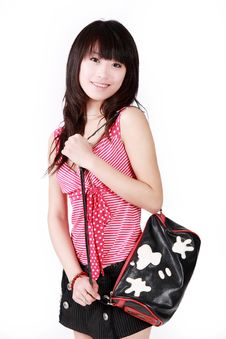 Free Asian Girl With Handbag Stock Photo - 8439930