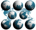 Free Earth Globes Over Continents. Royalty Free Stock Images - 8448079