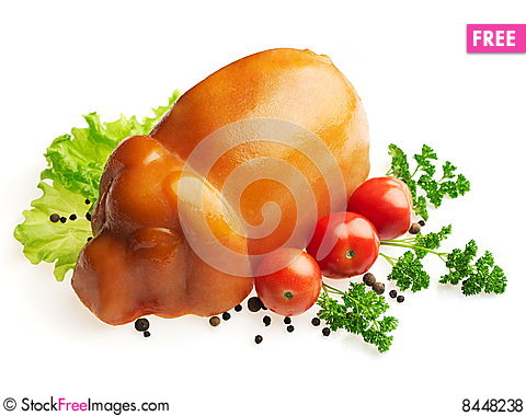Pressed ham decorated with salad, tomato, parsley Stock Photo