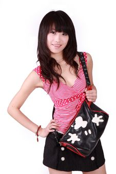 Free Asian Girl With Handbag Royalty Free Stock Photo - 8440165