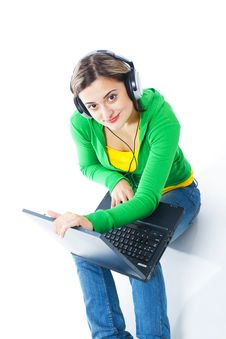 Free Happy Girl Listening To Music Stock Image - 8440341