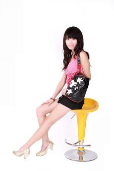 Free Asian Girl With Handbag Royalty Free Stock Photography - 8440437