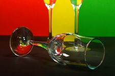Three Wineglass On Color Background Royalty Free Stock Image