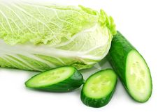 Free Fresh Vegetables (chinese Cabbage And Cucumber) Royalty Free Stock Photography - 8440557