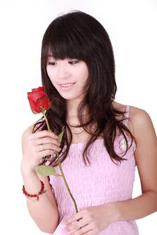 Free Asian Girl And Rose Royalty Free Stock Photography - 8440667