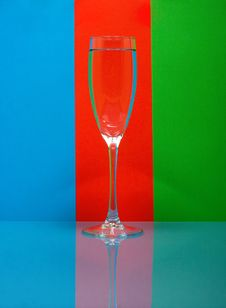 One Wineglass On Color Background Stock Photo