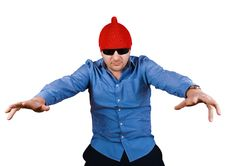 Free Crazy Man In Red Cap Royalty Free Stock Photos - 8441708