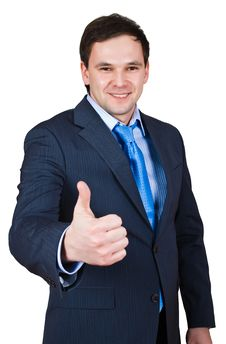 Free Businessman Show Thumb Up Sing Stock Photography - 8441712