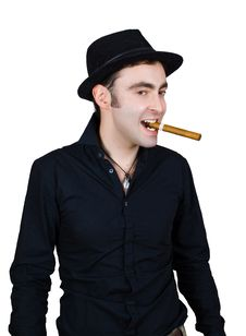 Man In Black Hat With Cigar Stock Photo
