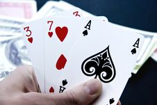 Free Playing Cards In His Hand Stock Photos - 8442803