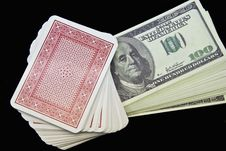 Free Dollars And Playing Cards Royalty Free Stock Photography - 8442837
