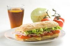 Delicious Sandwich Of Ham Cheese Lettuce Tomato Royalty Free Stock Images