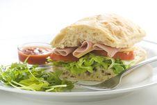 Delicious Sandwich Of Ham Cheese Lettuce Tomato Stock Image
