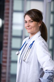 Female Doctor In A Modern Office Royalty Free Stock Image