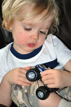 Free Boy Playing With Car Stock Photo - 8443490